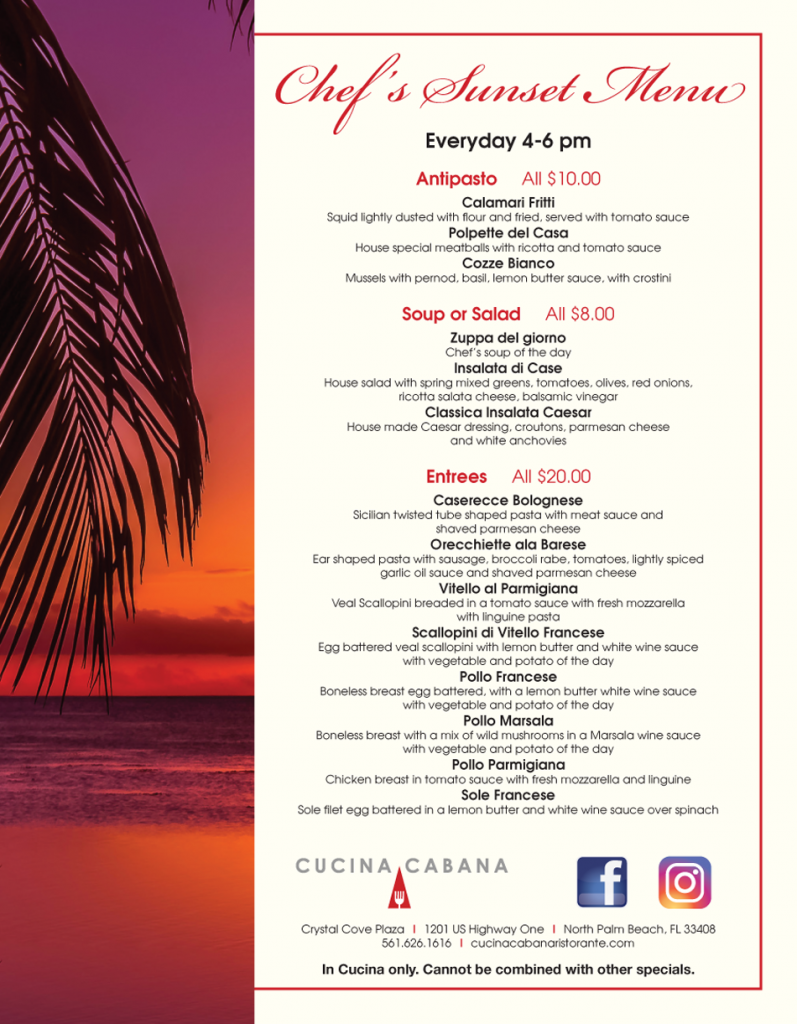 Chef's Sunset Menu