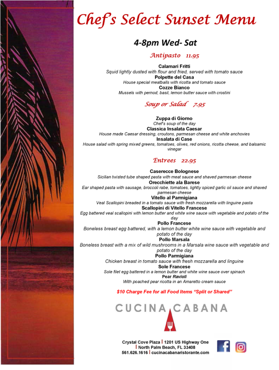 Sunset Menu