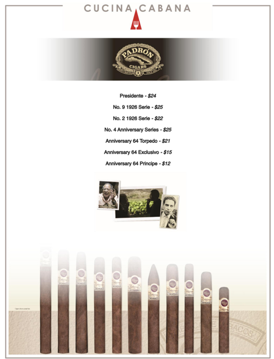 Padron Cigars Menu